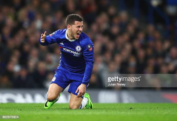 Eden Hazard of Chelsea reacts during The Emirates FA Cup QuarterFinal match between Chelsea and Manchester United at Stamford Bridge on March 13 2017...