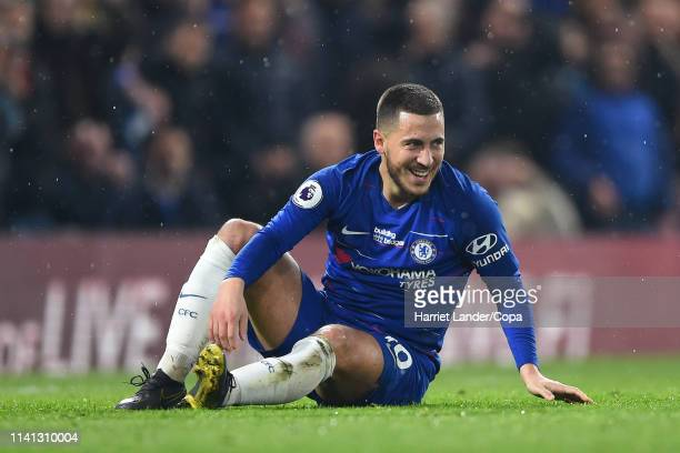 Eden Hazard of Chelsea reacts during the Premier League match between Chelsea FC and West Ham United at Stamford Bridge on April 08 2019 in London...