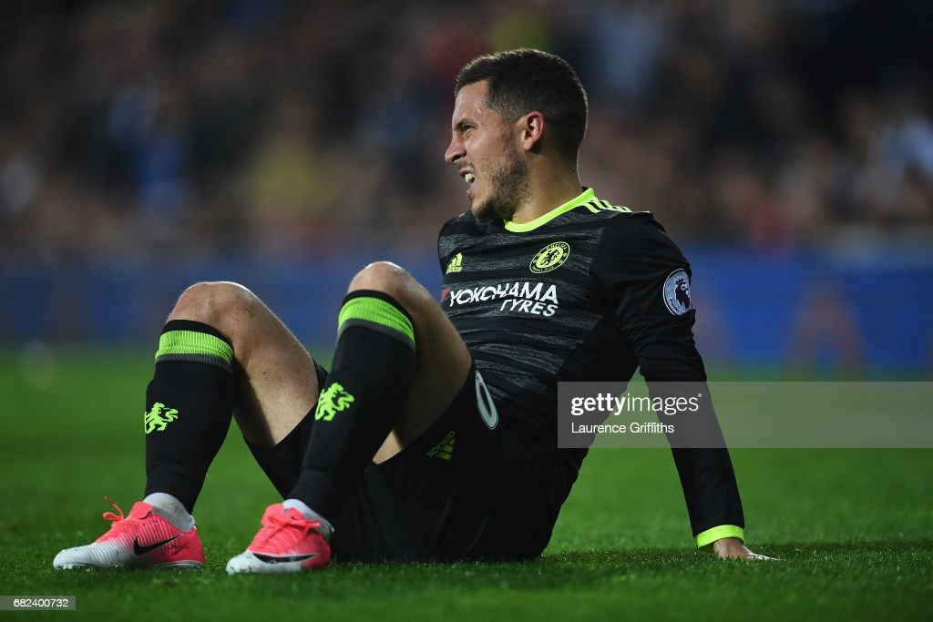 Eden Hazard of Chelsea reacts during the Premier League match between West Bromwich Albion and Chelsea at The Hawthorns on May 12, 2017 in West Bromwich, England.