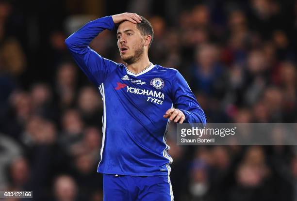 Eden Hazard of Chelsea reacts during the Premier League match between Chelsea and Watford at Stamford Bridge on May 15 2017 in London England