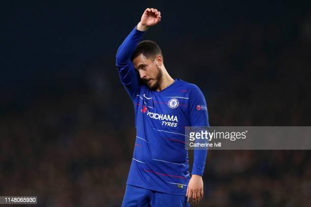 Eden Hazard of Chelsea reacts during the UEFA Europa League Semi Final Second Leg match between Chelsea and Eintracht Frankfurt at Stamford Bridge on...