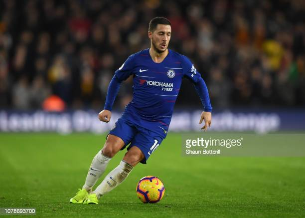 Eden Hazard of Chelsea runs with the ball during the Premier League match between Wolverhampton Wanderers and Chelsea FC at Molineux on December 05...