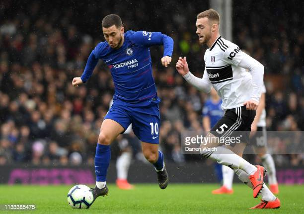 Eden Hazard of Chelsea runs with the ball during the Premier League match between Fulham FC and Chelsea FC at Craven Cottage on March 03 2019 in...