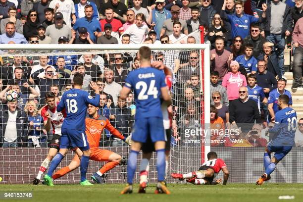 Eden Hazard of Chelsea scores a goal to make it 2-2 during the Premier League match between Southampton and Chelsea at St Mary's Stadium on April 14,...