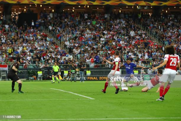 Eden Hazard of Chelsea scores a goal to make it 41 during the UEFA Europa League Final between Chelsea and Arsenal at Baku Olimpiya Stadionu on May...