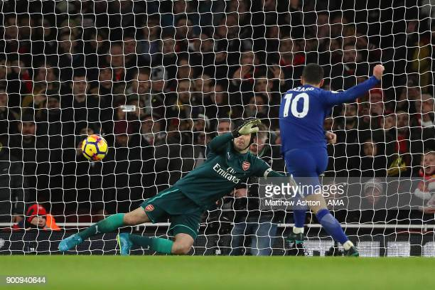 Eden Hazard of Chelsea scores a goal to make the score 11 during the Premier League match between Arsenal and Chelsea at Emirates Stadium on January...