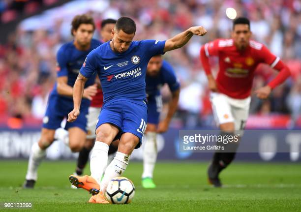 Eden Hazard of Chelsea scores a penalty for his sides first goal during The Emirates FA Cup Final between Chelsea and Manchester United at Wembley...