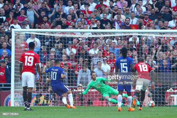 Eden Hazard of Chelsea scores a penalty to make the score 10 during the Emirates FA Cup Final between Chelsea and Manchester United at Wembley...