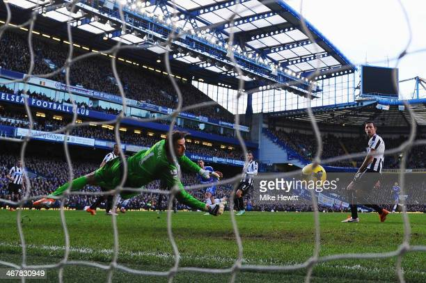 Eden Hazard of Chelsea scores his first goal past Tim Krul the Newcastle United goalkeeper during the Barclays Premier League match between Cheslea...