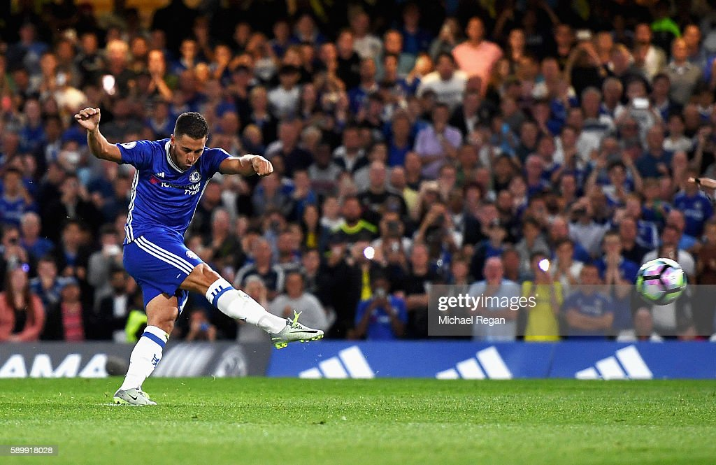 Eden Hazard of Chelsea scores his penalty during the Premier League match between Chelsea and West Ham United at Stamford Bridge on August 15, 2016 in London, England.