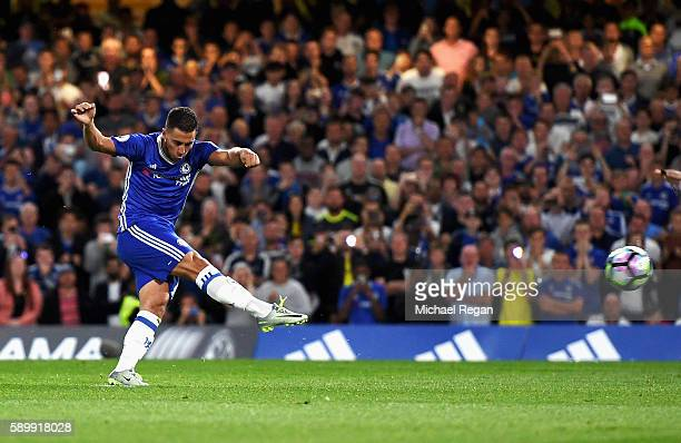 Eden Hazard of Chelsea scores his penalty during the Premier League match between Chelsea and West Ham United at Stamford Bridge on August 15 2016 in...