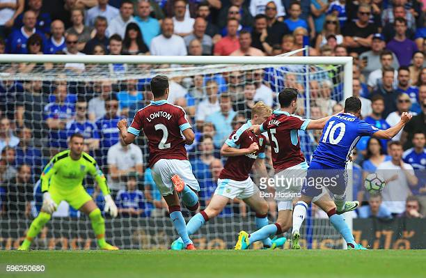 Eden Hazard of Chelsea scores his sides first goal during the Premier League match between Chelsea and Burnley at Stamford Bridge on August 27 2016...