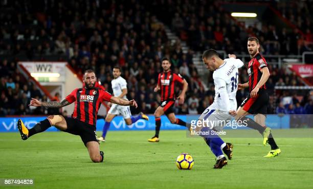 Eden Hazard of Chelsea scores his sides first goal during the Premier League match between AFC Bournemouth and Chelsea at Vitality Stadium on October...