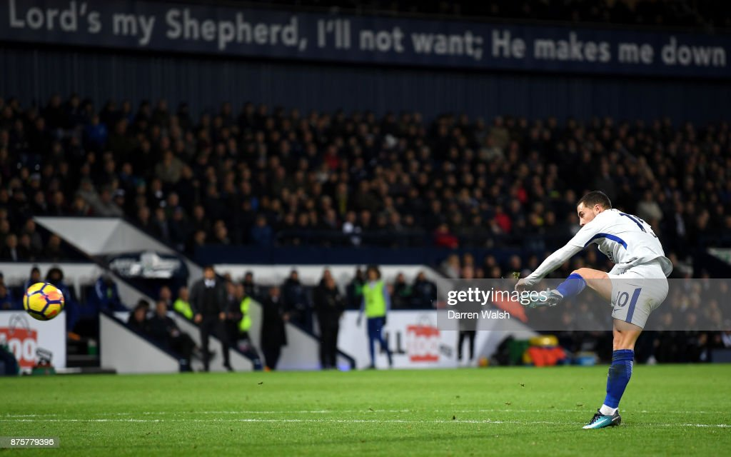 Eden Hazard of Chelsea scores his side's fourth goal during the Premier League match between West Bromwich Albion and Chelsea at The Hawthorns on November 18, 2017 in West Bromwich, England.