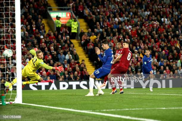 Eden Hazard of Chelsea scores his sides second goal during the Carabao Cup Third Round match between Liverpool and Chelsea at Anfield on September 26...