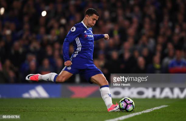 Eden Hazard of Chelsea scores his sides second goal during the Premier League match between Chelsea and Manchester City at Stamford Bridge on April 5...