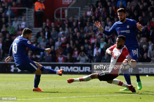 Eden Hazard of Chelsea scores his sides second goal during the Premier League match between Southampton and Chelsea at St Mary's Stadium on April 14...