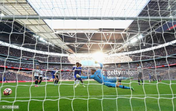 Eden Hazard of Chelsea scores his sides third goal during The Emirates FA Cup SemiFinal between Chelsea and Tottenham Hotspur at Wembley Stadium on...