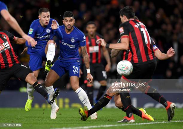 Eden Hazard of Chelsea scores his team's first goal during the Carabao Cup Quarter Final match between Chelsea and AFC Bournemouth at Stamford Bridge...