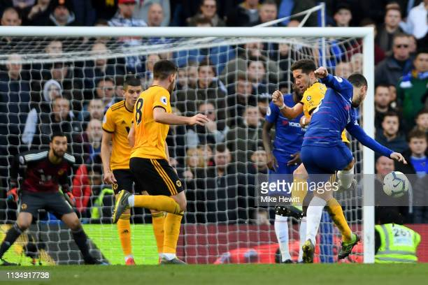 Eden Hazard of Chelsea scores his team's first goal during the Premier League match between Chelsea FC and Wolverhampton Wanderers at Stamford Bridge...