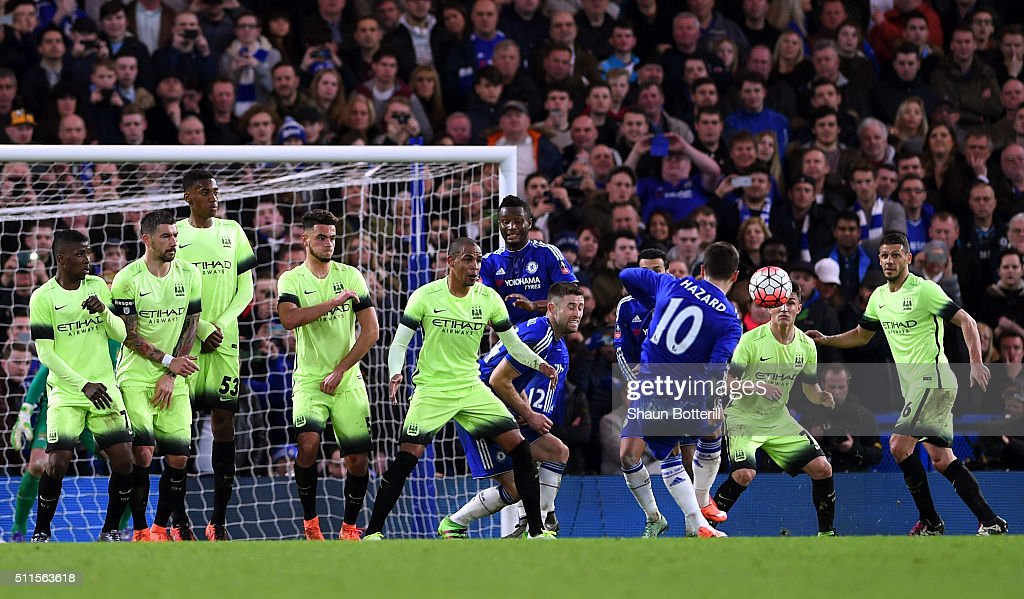 Eden Hazard of Chelsea scores his team's fourth goal from a free kick during The Emirates FA Cup fifth round match between Chelsea and Manchester City at Stamford Bridge on February 21, 2016 in London, England.