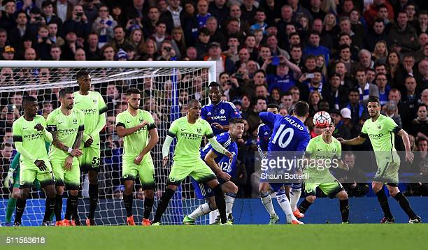 Eden Hazard of Chelsea scores his team's fourth goal from a free kick during The Emirates FA Cup fifth round match between Chelsea and Manchester...