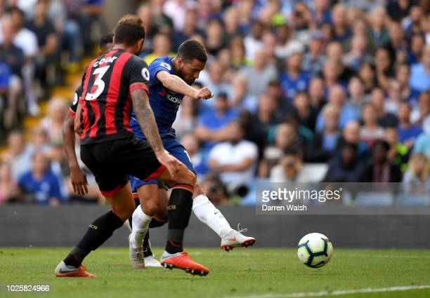 Eden Hazard of Chelsea scores his team's second goal during the Premier League match between Chelsea FC and AFC Bournemouth at Stamford Bridge on...