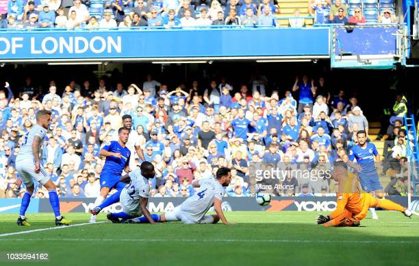 Eden Hazard of Chelsea scores his team's second goal during the Premier League match between Chelsea FC and Cardiff City at Stamford Bridge on...
