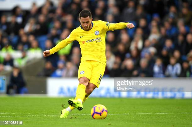 Eden Hazard of Chelsea scores his team's second goal during the Premier League match between Brighton Hove Albion and Chelsea FC at American Express...