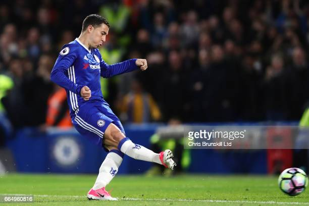 Eden Hazard of Chelsea scores his team's second goal to make the score 21 during the Premier League match between Chelsea and Manchester City at...