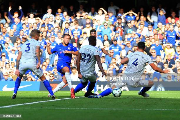 Eden Hazard of Chelsea scores their 2nd goal during the Premier League match between Chelsea FC and Cardiff City at Stamford Bridge on September 15...