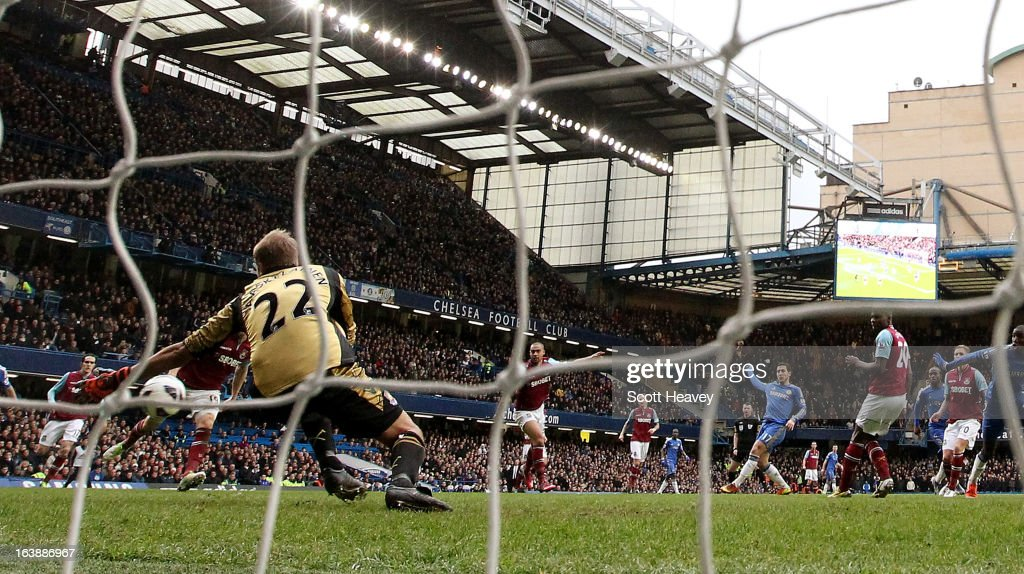 Eden Hazard of Chelsea scores their second goal during the Barclays Premier League match between Chelsea and West Ham United at Stamford Bridge on March 17, 2013 in London, England.