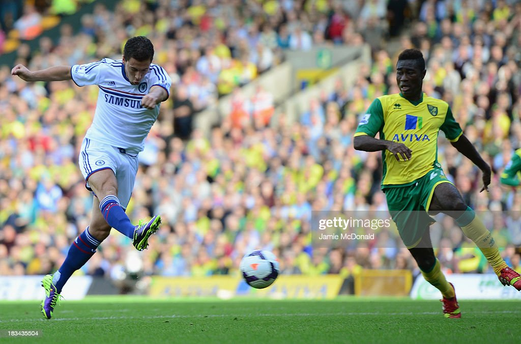 Eden Hazard of Chelsea scores their second goal during the Barclays Premier League match between Norwich City and Chelsea at Carrow Road on October 6, 2013 in Norwich, England.