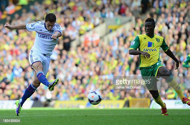 Eden Hazard of Chelsea scores their second goal during the Barclays Premier League match between Norwich City and Chelsea at Carrow Road on October 6...