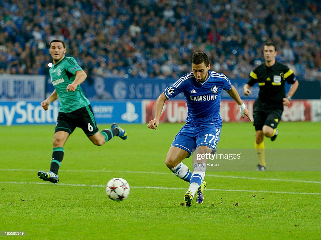 Eden Hazard of Chelsea scores their third goal during the UEFA Champions League Group E match between FC Schalke 04 and Chelsea at Veltins-Arena on October 22, 2013 in Gelsenkirchen, Germany.