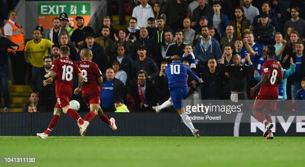 Eden Hazard of Chelsea scoring the second and winning goal during the Carabao Cup Third Round match between Liverpool and Chelsea at Anfield on...