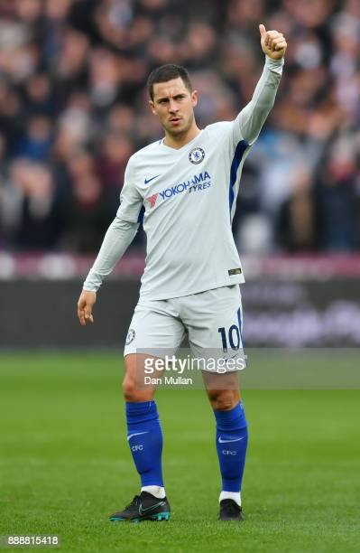 Eden Hazard of Chelsea shows appreciation to the fans after the Premier League match between West Ham United and Chelsea at London Stadium on...