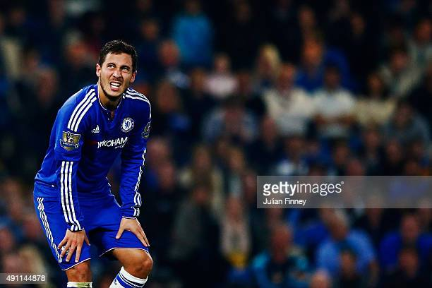 Eden Hazard of Chelsea shows his dejection after conceding the third goal to Southampton during the Barclays Premier League match between Chelsea and...