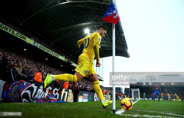 Eden Hazard of Chelsea takes a corner kick during the Premier League match between Crystal Palace and Chelsea FC at Selhurst Park on December 30 2018...