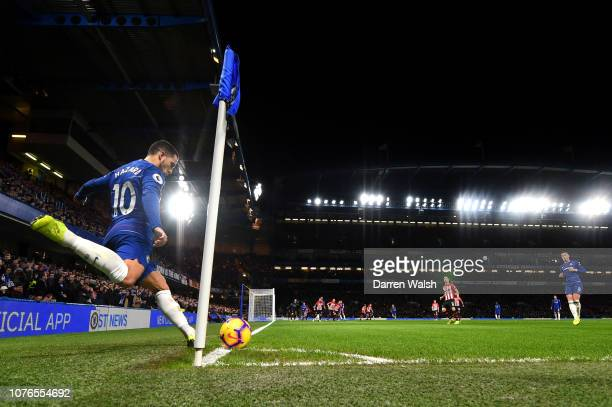 Eden Hazard of Chelsea takes a corner kick during the Premier League match between Chelsea FC and Southampton FC at Stamford Bridge on January 1 2019...