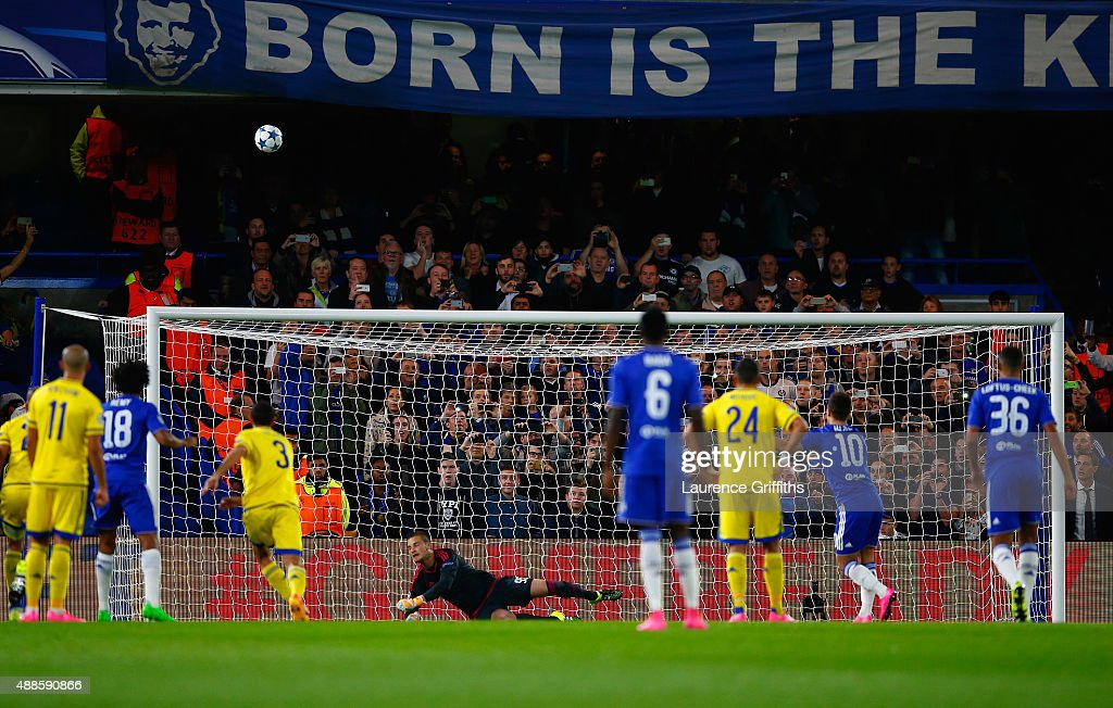 Eden Hazard of Chelsea takes a penalty and puts it over the cross bar during the UEFA Chanmpions League group G match between Chelsea and Maccabi Tel-Aviv FC at Stamford Bridge on September 16, 2015 in London, United Kingdom.