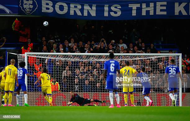 Eden Hazard of Chelsea takes a penalty and puts it over the cross bar during the UEFA Chanmpions League group G match between Chelsea and Maccabi...