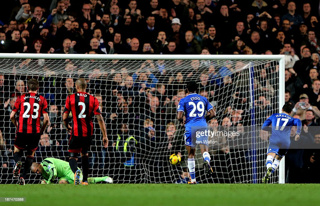Eden Hazard of Chelsea turns away after scoring a late goal from the penalty spot to earn a 2-2 draw during the Barclays Premier League match between Chelsea and West Bromwich Albion at Stamford Bridge on November 9, 2013 in London, England.