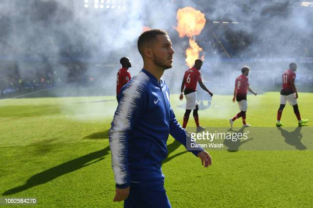 Eden Hazard of Chelsea waks onto the pitch prior to the Premier League match between Chelsea FC and Manchester United at Stamford Bridge on October...