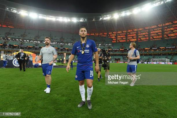 Eden Hazard of Chelsea walks off the pitch with his winner medal after the UEFA Europa League Final between Chelsea and Arsenal at Baku Olimpiya...