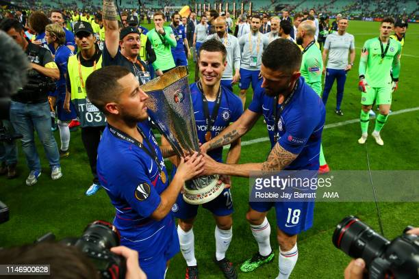 Eden Hazard of ChelseaCesar Azpilicueta of Chelsea and Olivier Giroud of Chelsea celebrate with the UEFA Europa League trophy during the UEFA Europa...
