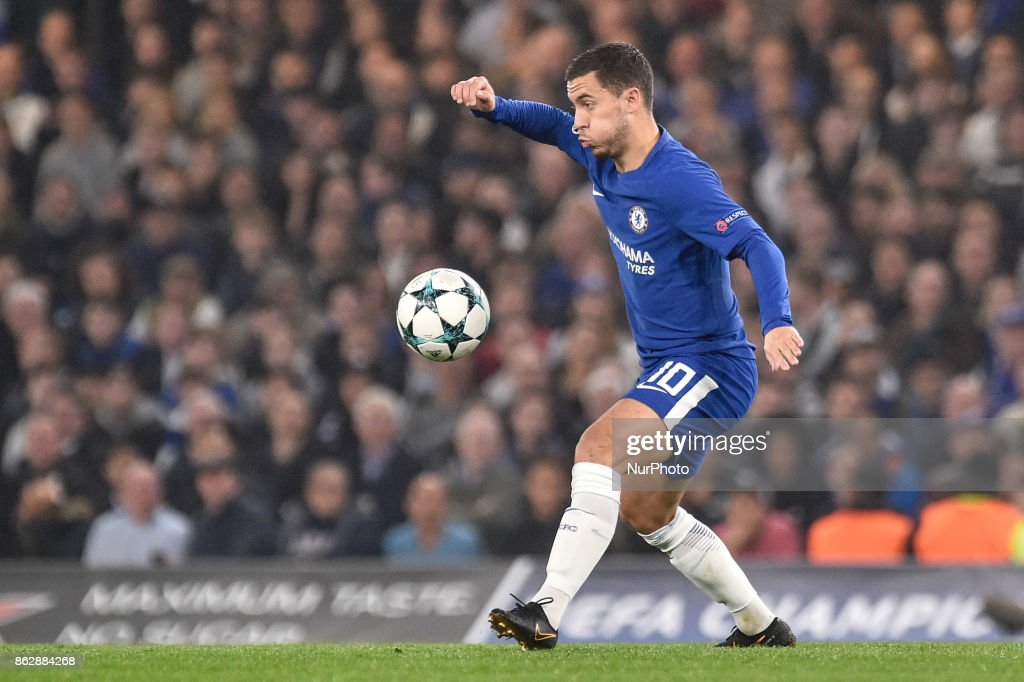 Eden Hazard of Chelseaduring the UEFA Champions League match between Chelsea v AS Roma at Stamford Bridge Stadium, London, United Kingdom on 18 October 2017.