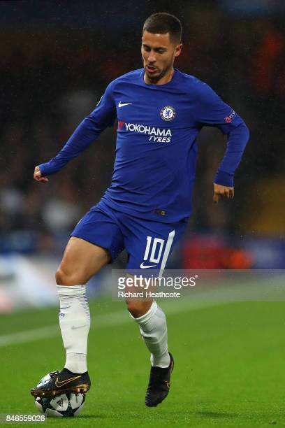 Eden Hazard of Cheslea in action during the UEFA Champions League group C match between Chelsea FC and Qarabag FK at Stamford Bridge on September 12...