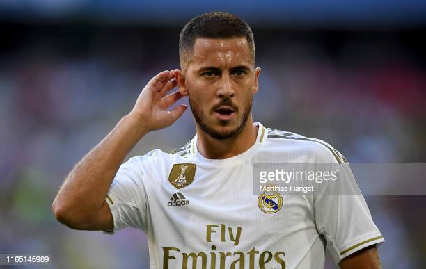 Eden Hazard of Madrid looks on during the Audi Cup 2019 semi final match between Real Madrid and Tottenham Hotspur at Allianz Arena on July 30 2019...