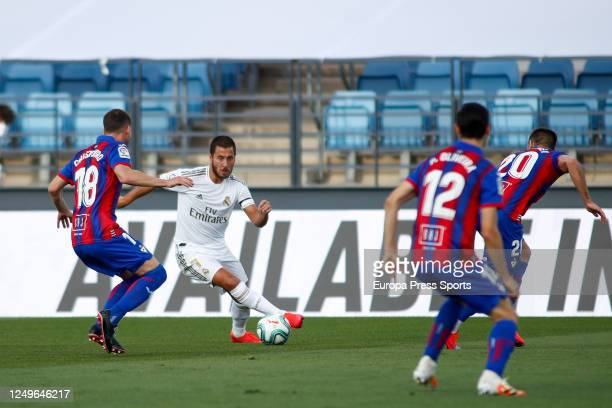 Eden Hazard of Real Madrid and Sebastian Cristoforo of Eibar in action during the spanish league, LaLiga, football match played between Real Madrid...